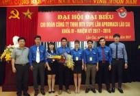 ĐẠI HỘI ĐẠI BIỂU Đoàn TNCS Hồ Chí Minh Công Ty TNHH MTV Supe Lân Apromaco Lào Cai nhiệm kỳ 2017-2019 – Nguyện đem sức trẻ xây dựng Apromaco ngày càng phát triển.